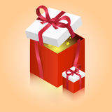 Bright red gift boxes with shining stars. Vector illustration Royalty Free Stock Photos