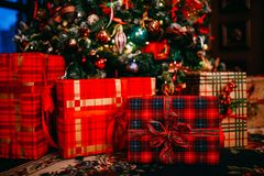 Bright red gift boxes under the Christmas tree. Holiday close up Royalty Free Stock Photo