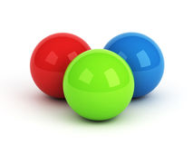 Bright red green blue spheres Royalty Free Stock Photo