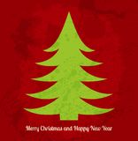 Bright red and green Christmas card with stylized Stock Images