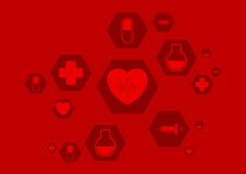 Bright red health vector background with medical Stock Images
