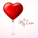 Bright red heart, the inflatable balloon in the shape of a big heart with tape, ribbon. Bright red heart, the inflatable balloon in the shape of a realistic Stock Photos