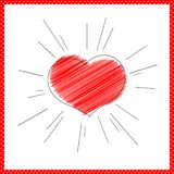 Bright red heart with rays lines Symbol of love and marriage for Valentine`s Day Decorative heart for the design greeting card stock illustration
