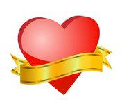 Bright red heart with a ribbon for text Royalty Free Stock Images