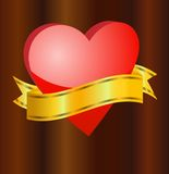 Bright red heart with a ribbon for text Stock Image