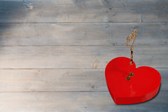 Bright red heart shaped lock with key Stock Images