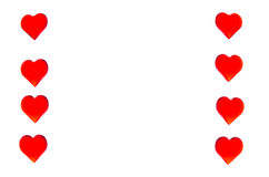 Bright red hearts in the form of two columns on each side. In order to use Valentine`s Day, weddings, International Women`s Day Royalty Free Stock Image