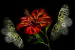 Bright red hibiscus flower with two yellow butterflies Stock Illustration