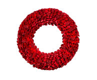 Bright Red Holiday Wreath on White Stock Photography