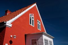 Bright red house on Bornholm Royalty Free Stock Photo