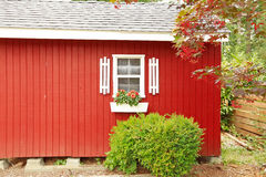 Bright red house wall with white window Stock Photos