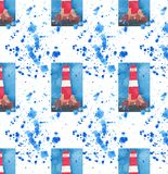 Bright red lighthouse on the cliffs seamless pattern on blue spray watercolor hand sketch. Bright beautiful red lighthouse on the cliffs seamless pattern on blue stock illustration