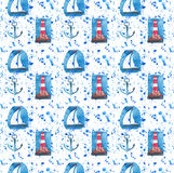 Bright  red lighthouse on the rocks and white sailboat seamless pattern on blue and violet spray watercolor Royalty Free Stock Photo