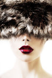 Bright red lips make up Royalty Free Stock Images