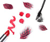 Bright red lipstick with black mascara Royalty Free Stock Photography