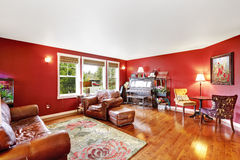 Bright red living room interior Royalty Free Stock Images