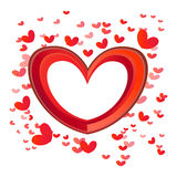 Bright Red Love hearts. Multi-sized red love hearts banner vector illustration