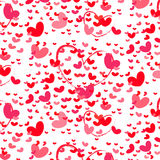 Bright Red Love hearts. Pattern on transparent background Royalty Free Stock Photos