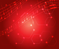 Bright red music vector background with gradient Royalty Free Stock Photo