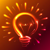 Bright red neon lights abstract bulb Royalty Free Stock Image