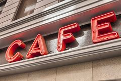 Red Cafe Sign Stock Photo