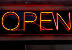 Bright red and orange open sign Royalty Free Stock Photos