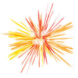 Bright red and orange shining . Abstract sun explosion at white background. Cosmic illustration for posters, flyers, covers,. Web presentations, business cards Stock Photo