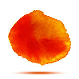 Bright red - orange watercolor vector circle stain isolated on white background with realistic paper watercolor texture. Stock Photography