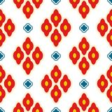 Bright red ottoman rhombuses repeat vector pattern. Bold fabric background ornament in eastern inspired style Stock Image