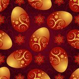Bright red pattern with Easter golden eggs. Bright red pattern with Easter golden shiny eggs and flowers, vector Royalty Free Stock Photo