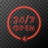 Red realistic neon around the clock sign,24 hours 7 days open. Bright red realistic neon around the clock sign,24 hours 7 days open Stock Photography