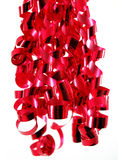 Bright Red Ribbons. Bright blue curly ribbons against a white background royalty free stock photo