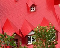 Bright red roof with gables Royalty Free Stock Image