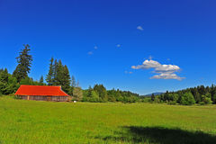 Free Bright Red Roof On An Old Barn In A Meadow Royalty Free Stock Photography - 14738197