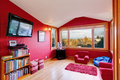 Bright red room with tv Royalty Free Stock Photo