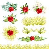 Bright red roses flowers objects beautiful watercolor paint green leaves branch decoration frame set isolated on white background Stock Images