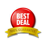 Bright red round button `Best deal - 100% guarantee`. Bright red round button with label `Best deal - 100% guarantee`. Design element for web stores. Letters on Stock Photos