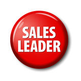 Bright red round button with word `Sales leader` Stock Photos