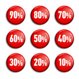 Bright red round buttons, discount tags. Bright red round buttons with sale offers from 90 to 10 percent. Discount tags on white background with shadow. Plastic royalty free illustration