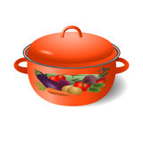 Bright red saucepan Royalty Free Stock Photo