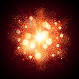 Bright red shining fireworks explosion at black Royalty Free Stock Photos