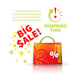 Bright red shopping bag Stock Photo