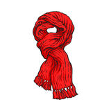 Bright red slip knotted winter knitted scarf with tassels. Sketch style vector illustrations isolated on white background. Hand drawn fluffy woolen scarf tied Stock Images