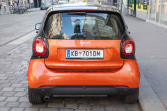 Bright red Smart Fortwo W453 car, back side Royalty Free Stock Images
