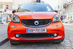 Bright red Smart Fortwo W453 car front view Stock Image