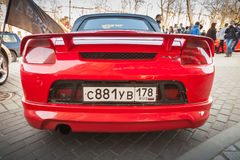 Bright red sporty styled Toyota MR-S car, back view Royalty Free Stock Photography