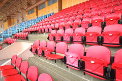 Bright red stadium seats Royalty Free Stock Image