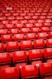 Bright red stadium seats Royalty Free Stock Images