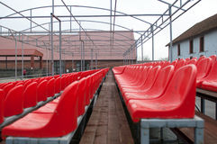 Bright red stadium seats Royalty Free Stock Photography