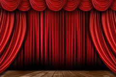 Bright Red Stage Drapes With Many Swags Stock Images